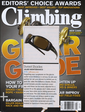 Julbo Montebianco Sunglasses in the April Issue of Climbing Magazine