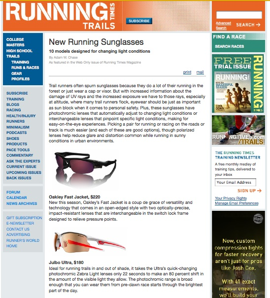 Julbo on RunningTimes.com