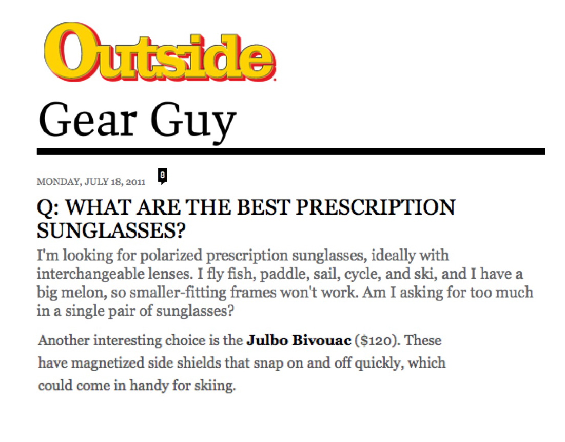 Julbo in Outside Mag